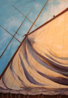 Raising Sail in New York Harbor-SOLD